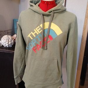 North Face Celadon green hoodie S colorful logo